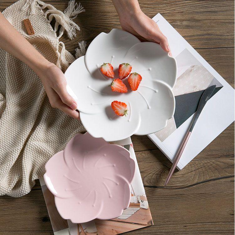 2018 Cherry Blossom Shape Dinnerware Porcelain Dinner Plate Side Dessert Plate Sauce Dish Creative Home Restaurant Wedding Tableware From Casaideacn ... & 2018 Cherry Blossom Shape Dinnerware Porcelain Dinner Plate Side ...