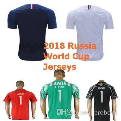 new product b5d78 95920 Custom 2018 Russia World Cup Soccer Jersey F Home 1 LLORIS Soccer 6 POGBA  10 MBAPPE 13 KANTE football Uniform