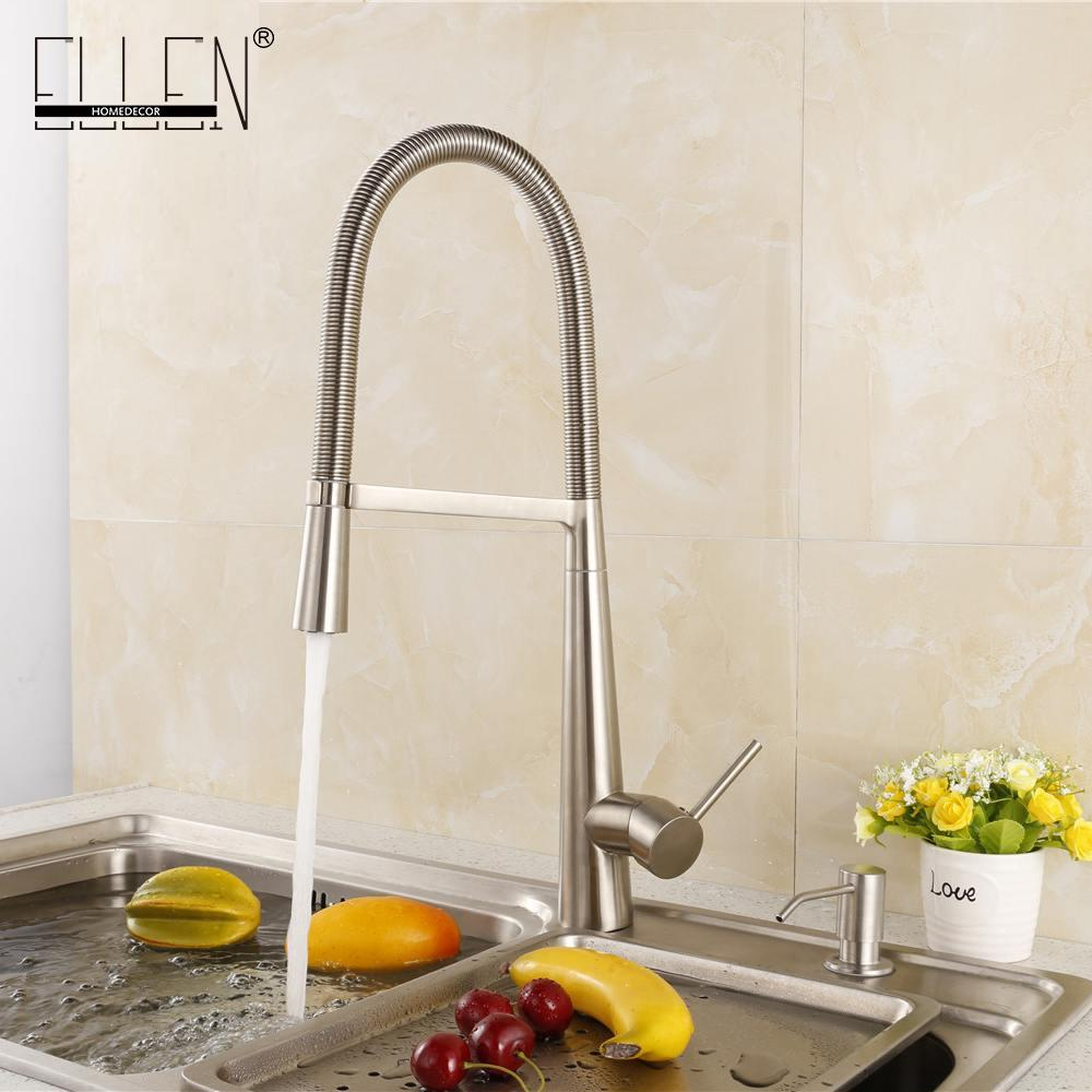 2018 Soild Brass Brushed Nickel Kitchen Faucet Cold And Hot Water ...