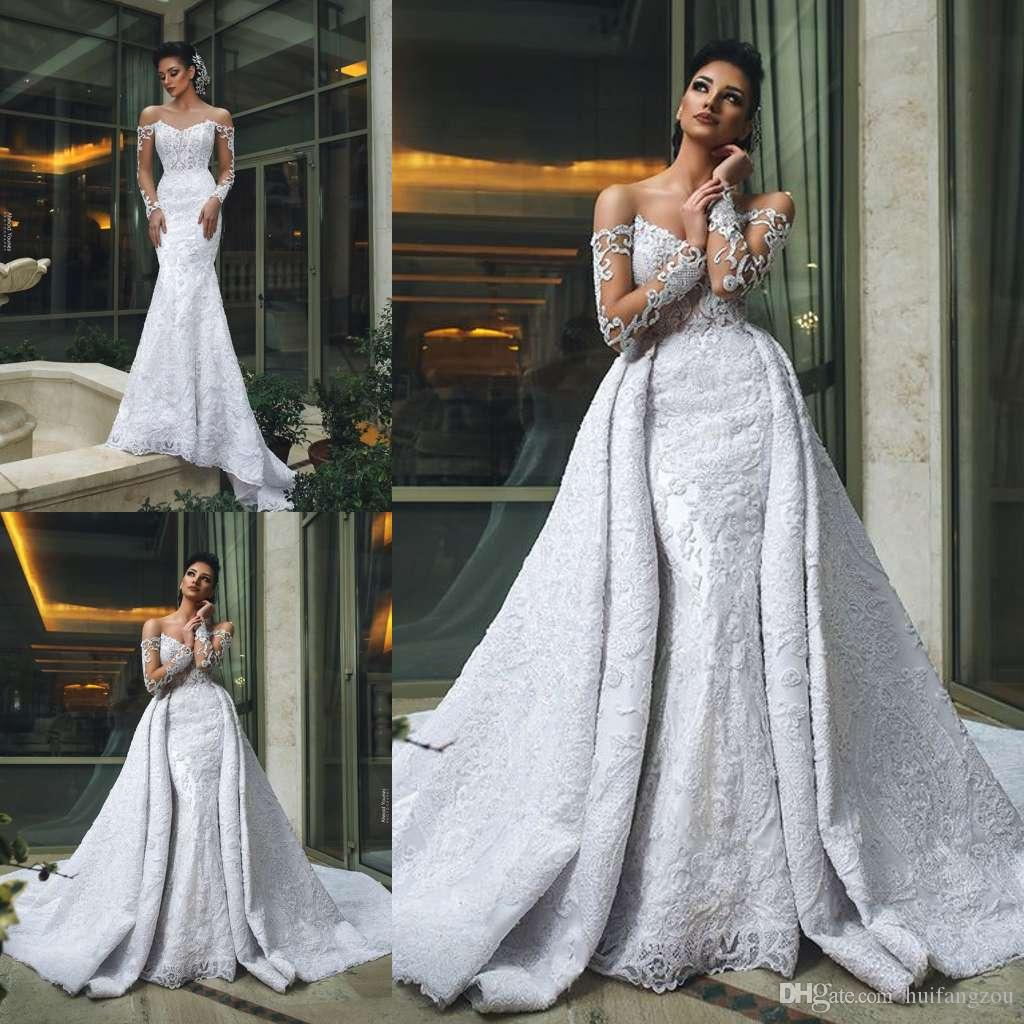 37038a35205b 2019 Dubai Arabic Wedding Dresses Off Shoulder Lace Applique Illusion Long  Sleeve Bridal Gowns With Detachable Train Plus Size Wedding Dress Long  Sleeve ...