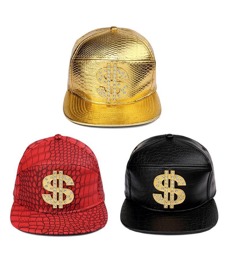 Compre Hombres Mujeres Oro PU Cuero Dólar Signo Cinturón Hebilla Gorras  Gorras   US Snapback Rhinestone Cocodrilo Hip Hop Sombreros Dinero Snapback  ... 59d20f485a4