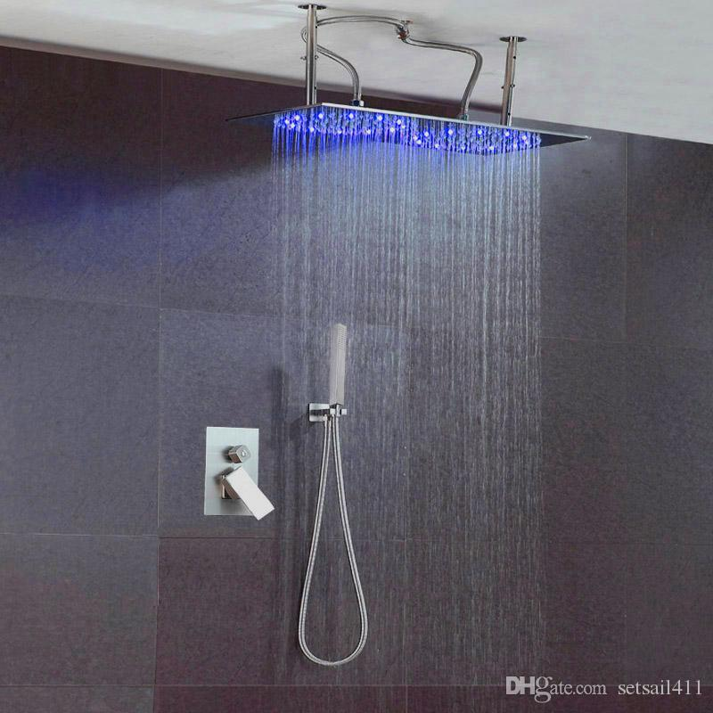 2018 Sus304 Brushed Double Rainfall Led Shower Head Set Hot Cold ...