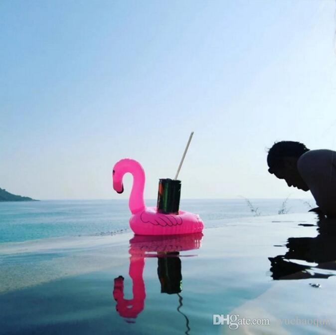 Inflatable Flamingo Drinks Cup Holder Pool Floats Bar Coasters Floatation Devices Children Bath Toy 10 p/l
