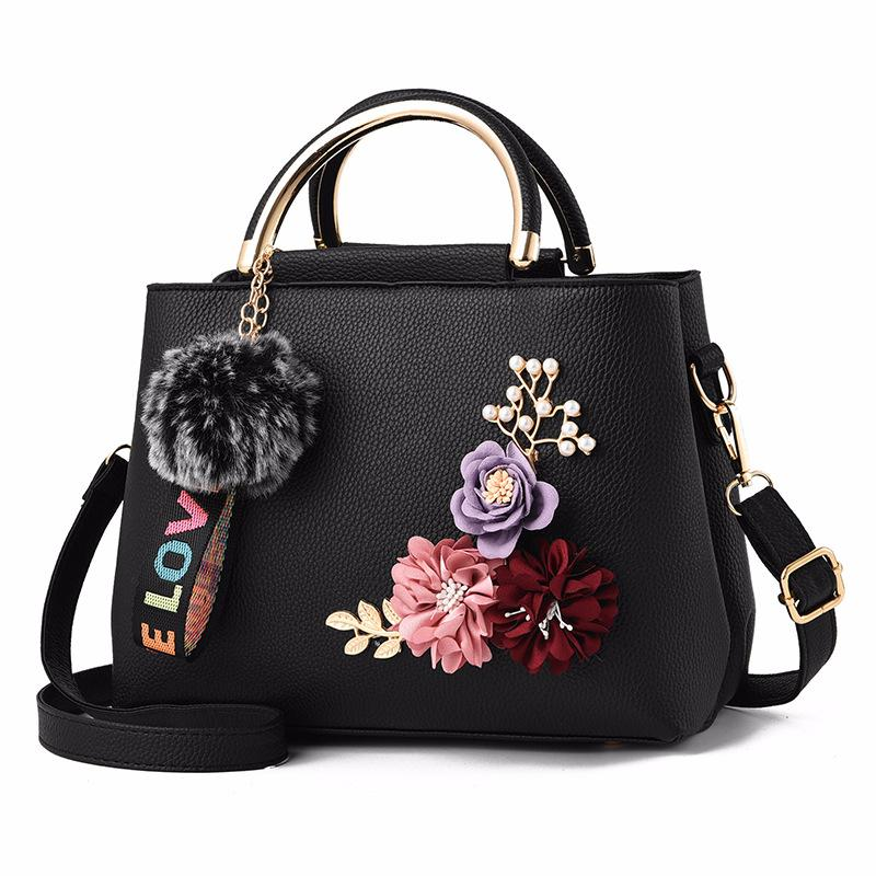 Luxury Women Leather Handbag Hairball Ornaments Flower Design Metal Top  Handle Female Causal Totes For Shopping Shoulder Bag Black Leather Handbags  Cute ... 87af81fa9301