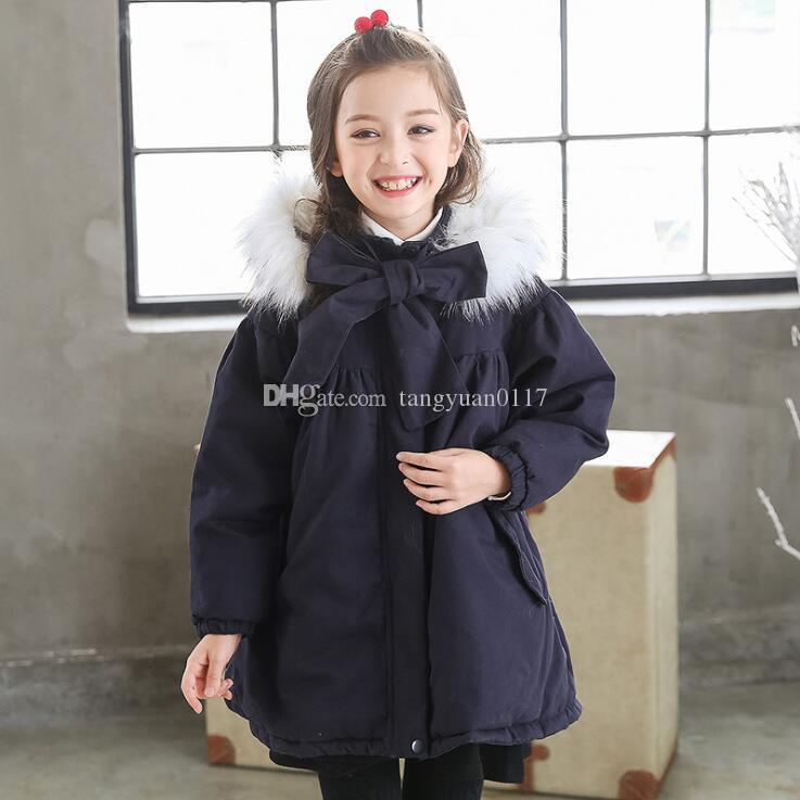 118c347a1199 Fur Hooded Loose Kids Winter Coats For Girls Warm Cotton Padded ...