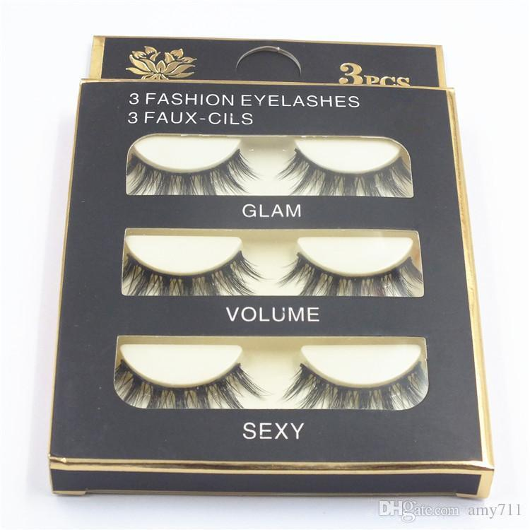 HOT Natural Handmade Black False Eyelashes Fashion Makeup Fake Eyelashes Cross Messy Soft 3D Eye Lashes DHL shipping