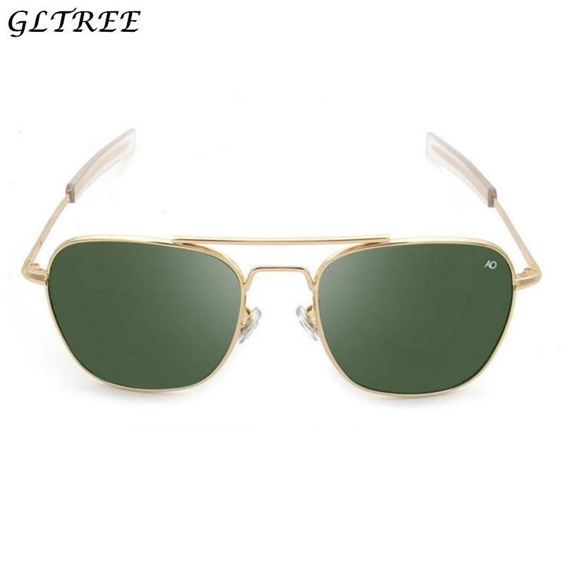 d0a17514742b2 Compre GLTREE 2018 Moda Exército AO Óculos De Sol Dos Homens Americano Lente  Óptica Liga Quadro Novos Óculos De Sol Dos Homens Óculos De Óculos Oculos  G314 ...