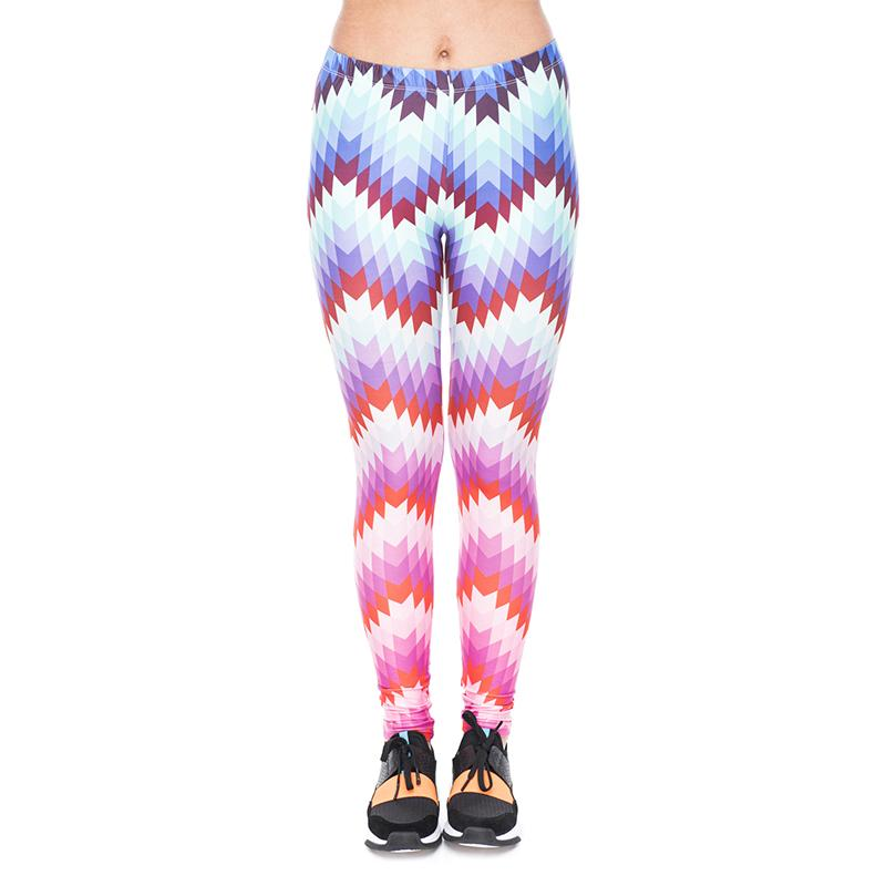 7f30776a63d66 Women Leggings Ethnic Zig Zag Ombre 3D Print Girl Skinny Stretchy Gym Yoga  Wear Pants Casual Jeggings Workout Capris Soft Trousers (YX41426)