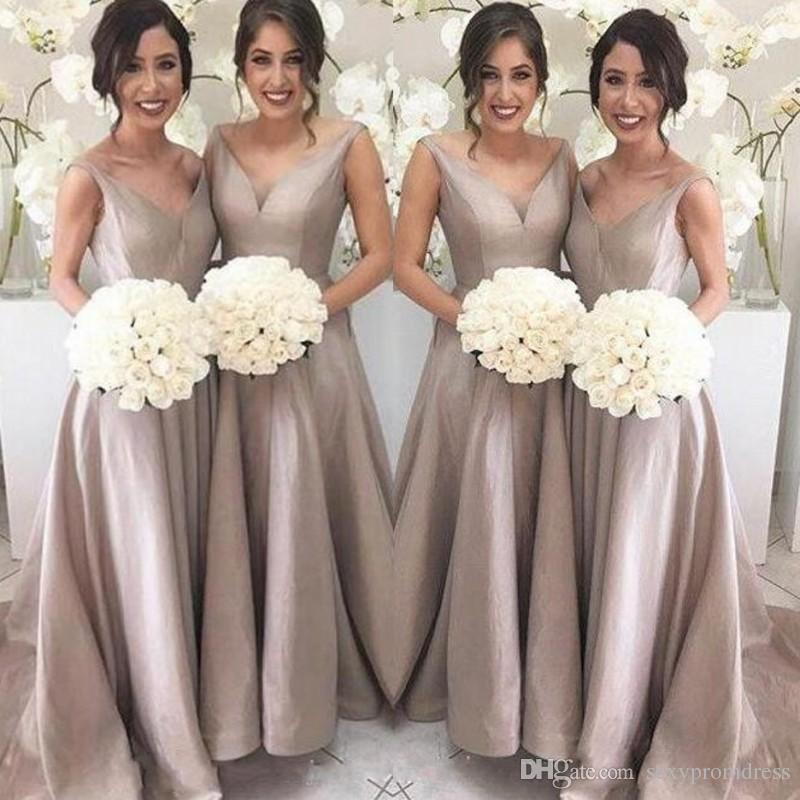 4b102a585fd Simple Elegant Bridesmaid Dresses A Line Sleeveless V Neck Floor Length  Sweep Train Garden Wedding Guest Party Gowns 2018 Under 90 Silver Bridesmaid  Dress ...