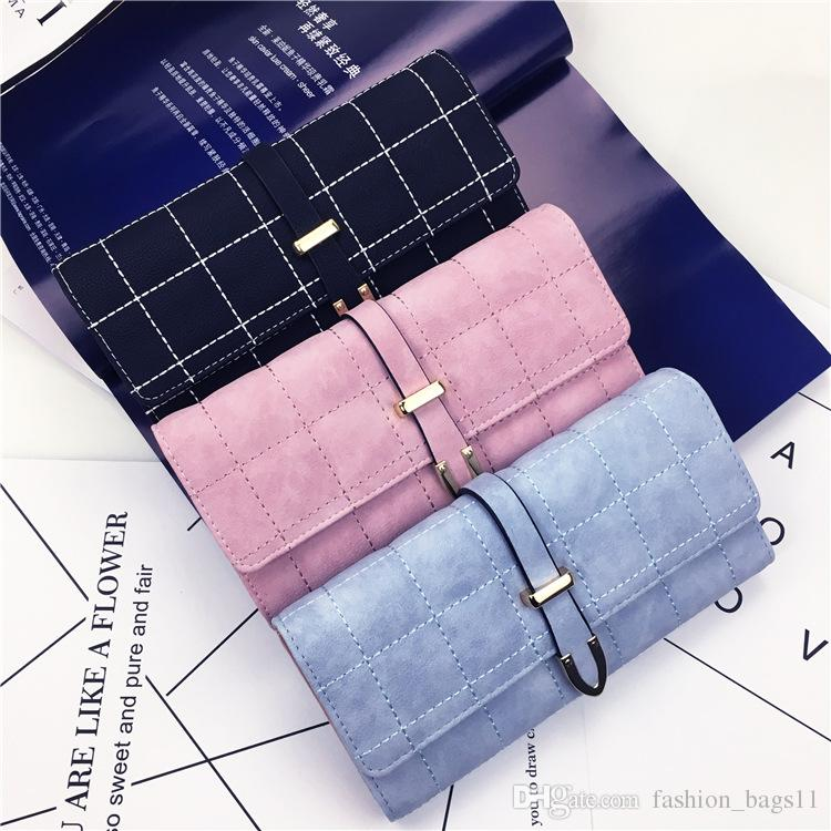 180e9c282a30 Fashion Wallet Women New Brand Designer Scrub Wallets Vintage Buckles  Ladies Handbag Clutch Purse Bag Trifold Bifold Casual Long