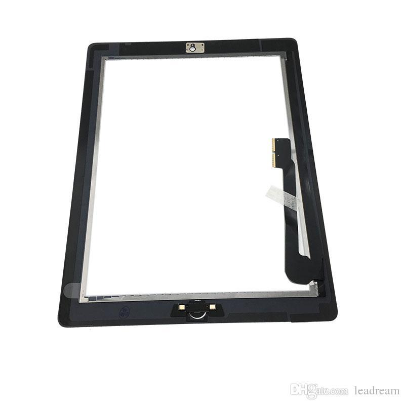 Сенсорный экран стеклянная панель дигитайзер с кнопками клей Ассамблеи для iPad 3 передняя стеклянная панель черный и белый Бесплатная доставка