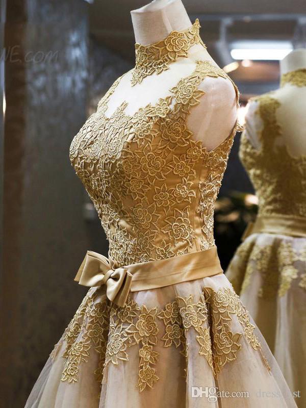 Apliques de encaje de oro corto vestidos de baile barato cuello alto champaña tul de ilusión espalda arco vestido de regreso al hogar por encargo china EN2108