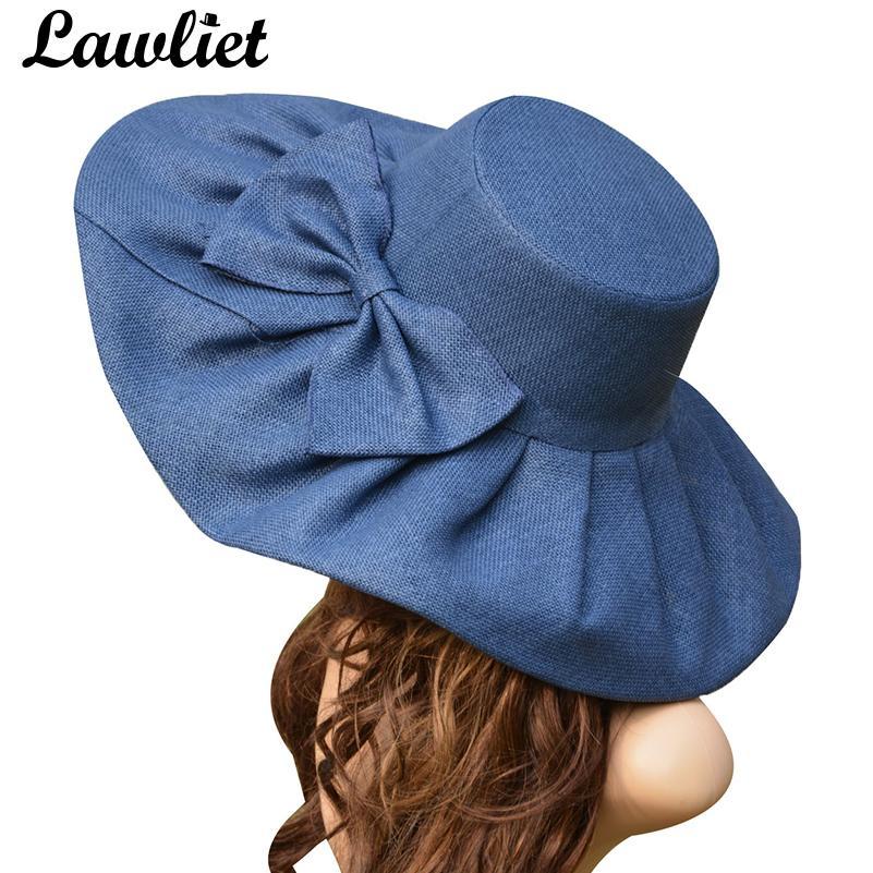 Compre Sombrero De Lino Enorme Sombrero De Sol De Mujer Derby De Kentucky  Sombrero Ancho Sombrero De Sol Boda Iglesia Sombreros De Playa Para Mujer  Disquete ... f36405f92fc