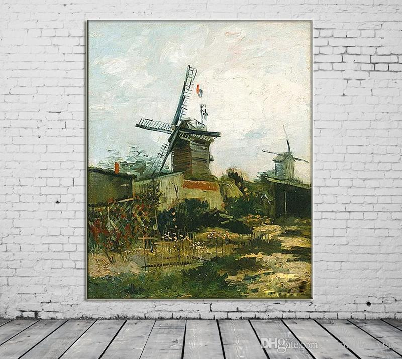 ZYXIAO Large Size Oil Painting Pop Art scenery Windmill Castle Home Decor on Canvas Modern Wall Art No Frame Print Poster picture ys0148