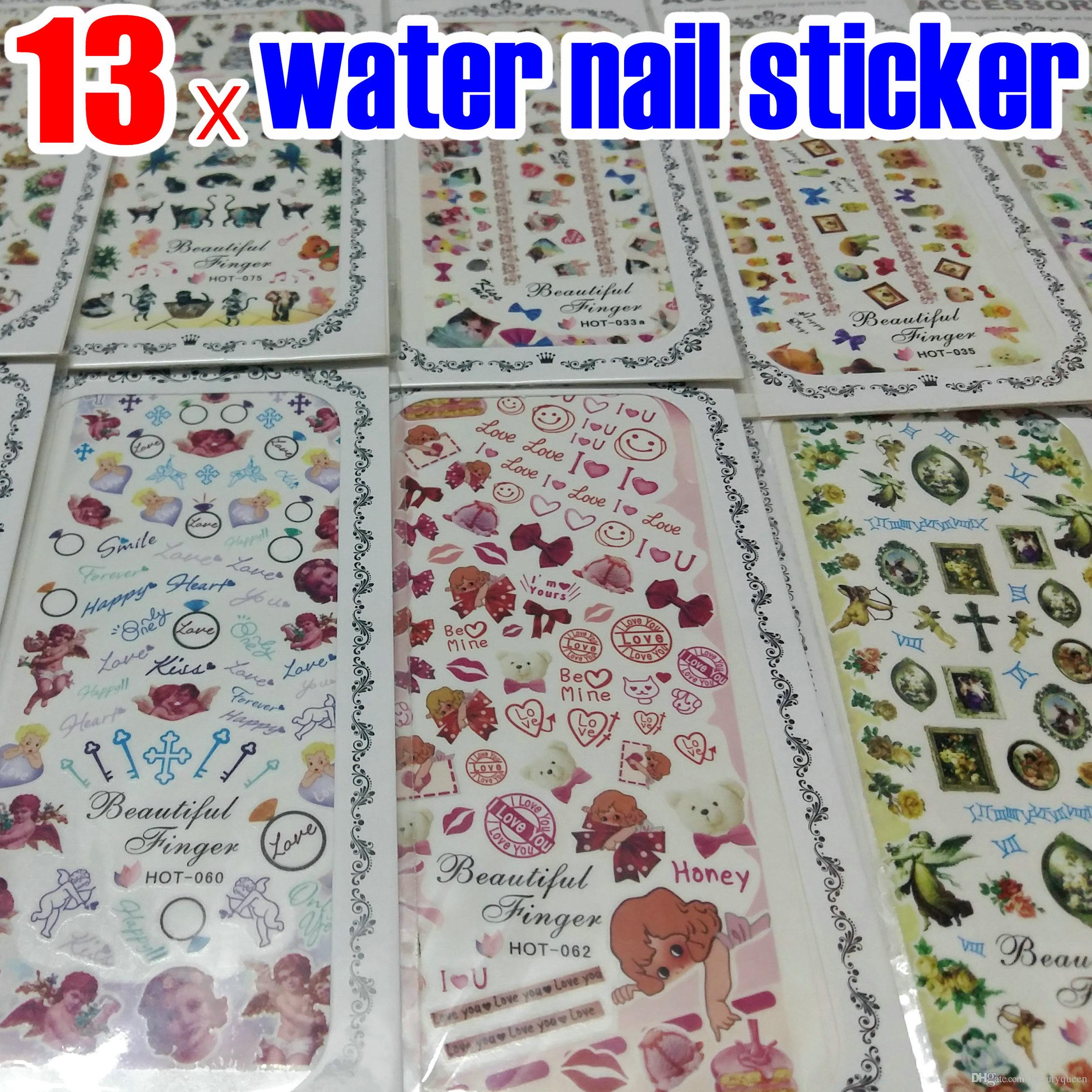 13x Nail Art Water Transfer Sticker Decal Decals Cupid Angel Pet Love Flower  Decoration Strip Wrap Wraps FOR NATURAL   FALSE NAILS Tips NEW Water Decal  ... f9b1af9acda0
