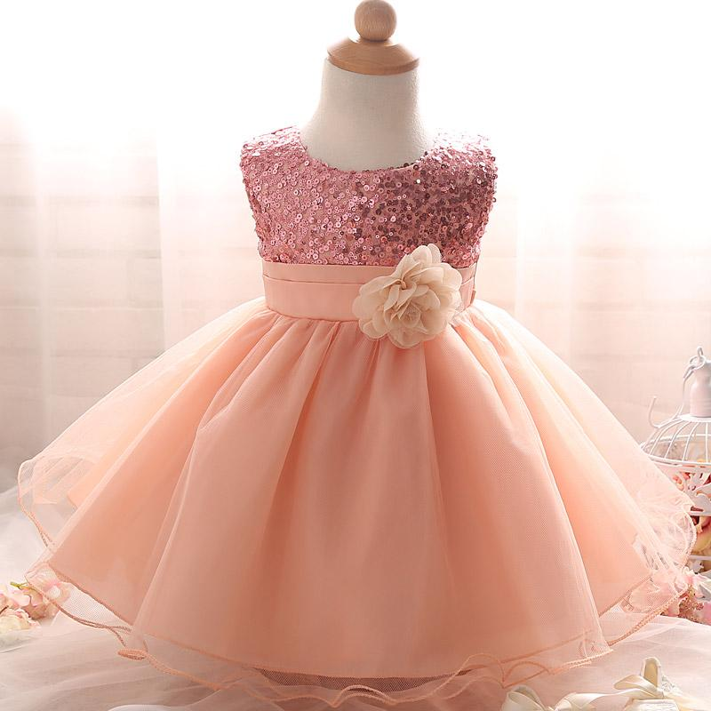 2018 Sequin Formal Newborn Girl Infant New Baptism Dress Perfect For