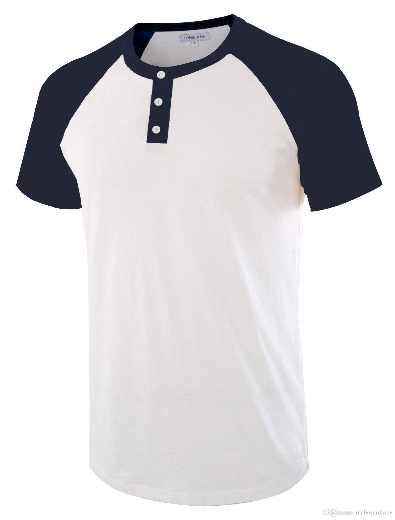 88e728e4b Compre Diseño De Botones Camisetas Casual Para Hombre Verano Mezcla De  Algodón De Manga Corta Camisetas Cuello Redondo Remiendo Camisetas Hommes  Tops A ...