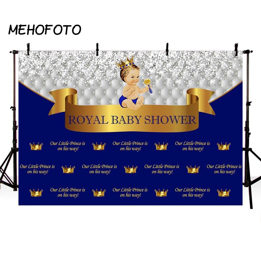 wholesale Royal Litter Prince Baby Shower Photography Backdrop Gender Reveal Party Decoration Photo Backdrops for Photo Booth