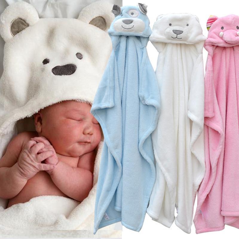 Cute Animal Shape Baby Hooded Bathrobe Bath Towel Baby Fleece ...