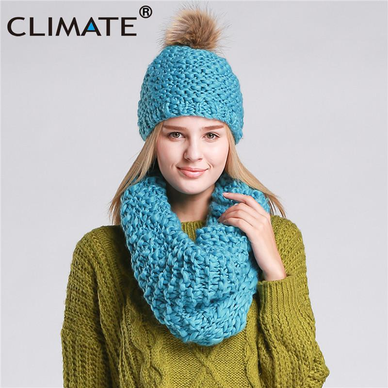 CLIMATE Women Winter Hat And Scarf Set Warm Lady Collar Pom Beanie Sets  Fashion Warm Knit Hat Scarf Set Women Comfortable UK 2019 From Milknew 76a8a990ee2