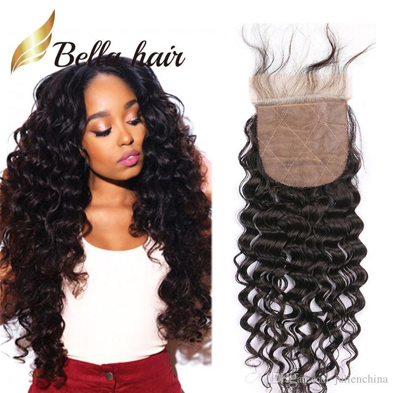 Bella Hair® Pre-Plucked Silk Base Closure Brazilian Virgin Human Hair 4*4 Lace Natural Color 8A High Quality Deep Wave