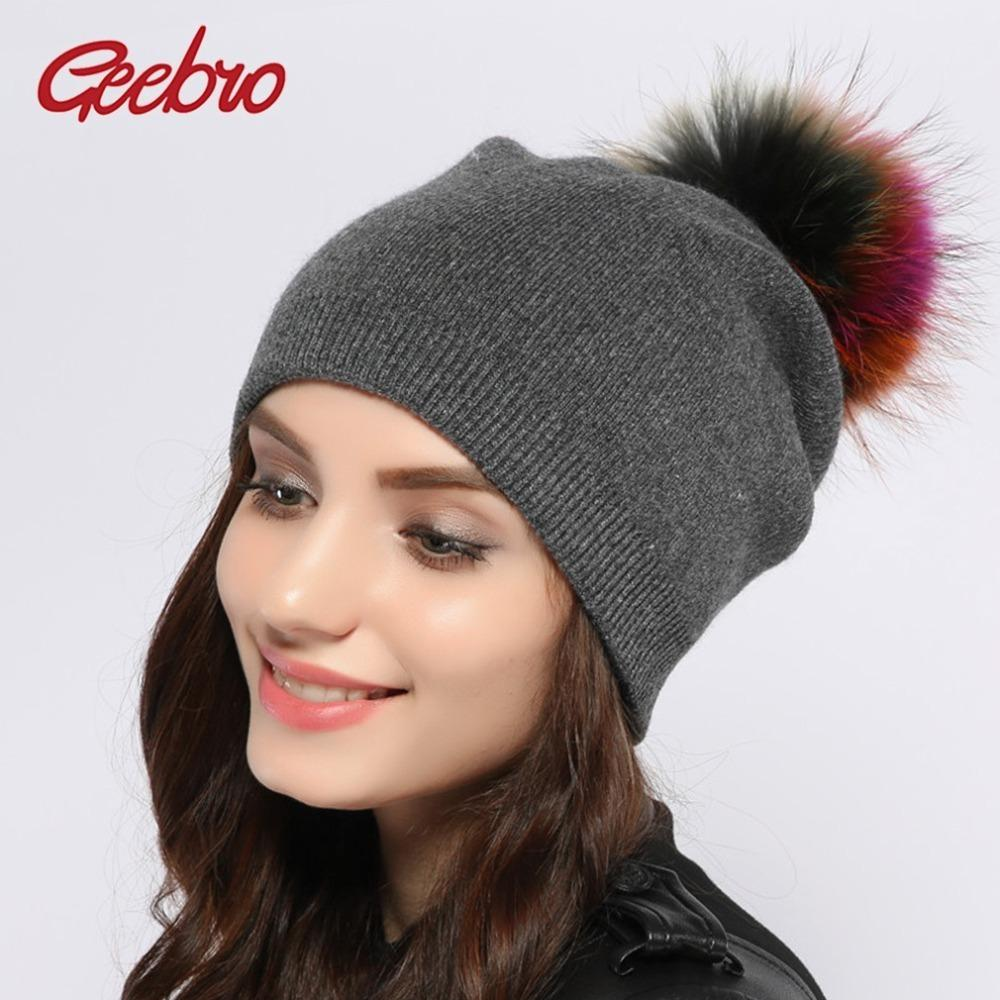 Geebro Women S Cashmere Beanies Hat Winter Knitted Wool Beanie For Women  Racoon Fur Pompom Caps Ladies Real Fur Pom Pom Hats D18110102 Snapback Caps  Baby ... e91c8ef99a