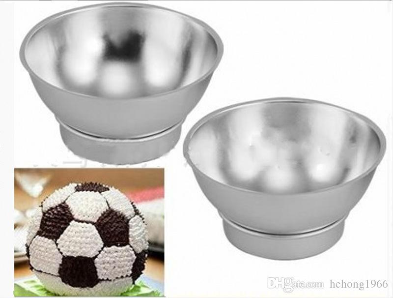 Molde de alumínio Ferramenta de Cozimento Esférica Semi Círculo Molde Bolo De Açúcar Redondo Rodada Modelagem De Futebol Decorar Frete Grátis 20ks V