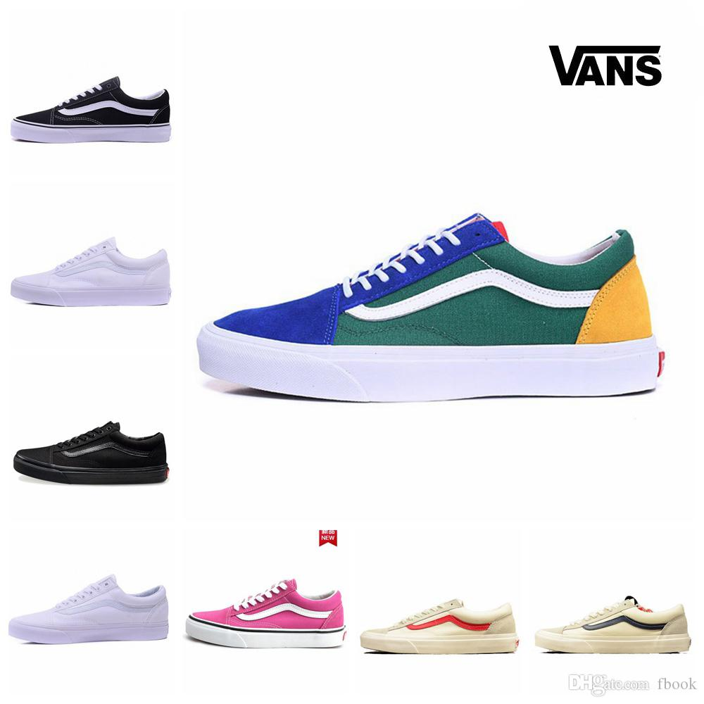 a048b4ebdf95 New 2018 Old Skool Shoes Black Blue Red Classic Mens Women Canvas Sneakers  Zapatillas De Deporte Skateboard Casual Shoes Size 35 44 Mens Shoes Loafers  From ...