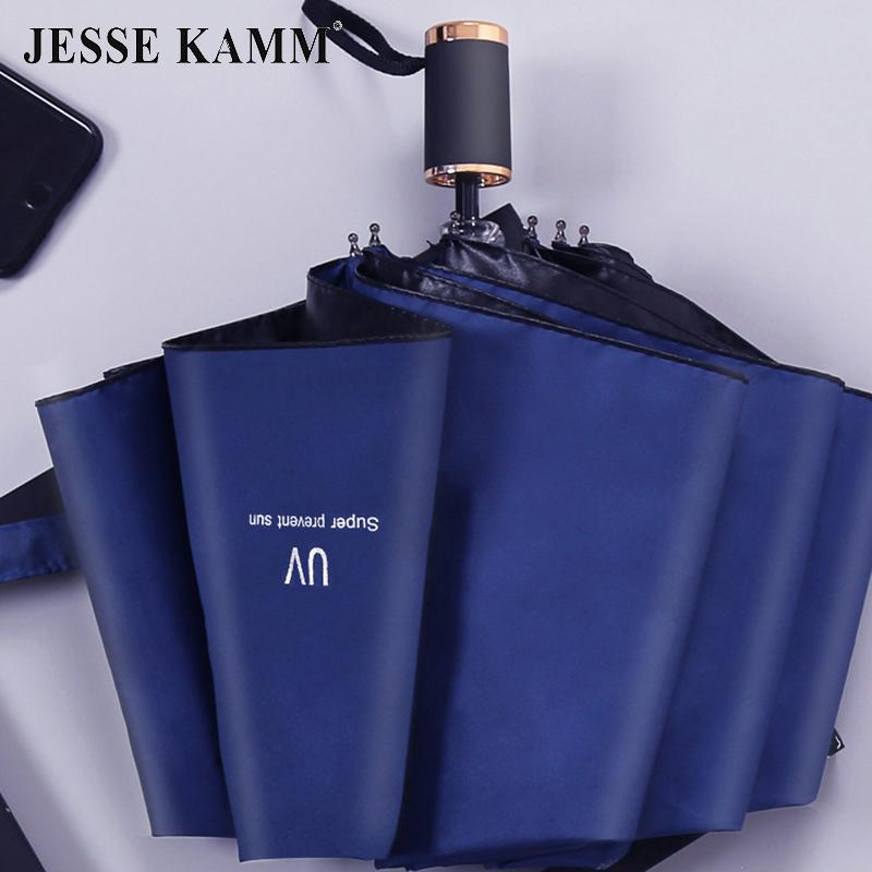 JESSE KAMM Fully-automatic Compact Big Umbrella Black Coating UV Protection Windproof Strong Frame Golden Handle Gentles Ladies