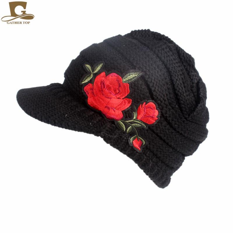 2019 Wholesale NEW Women S Cable Knit Visor Hat With Red Rose Flower Knitted  Newsboy Beret Cap Visor Beanie Hat From Wanyar 2be2517df01
