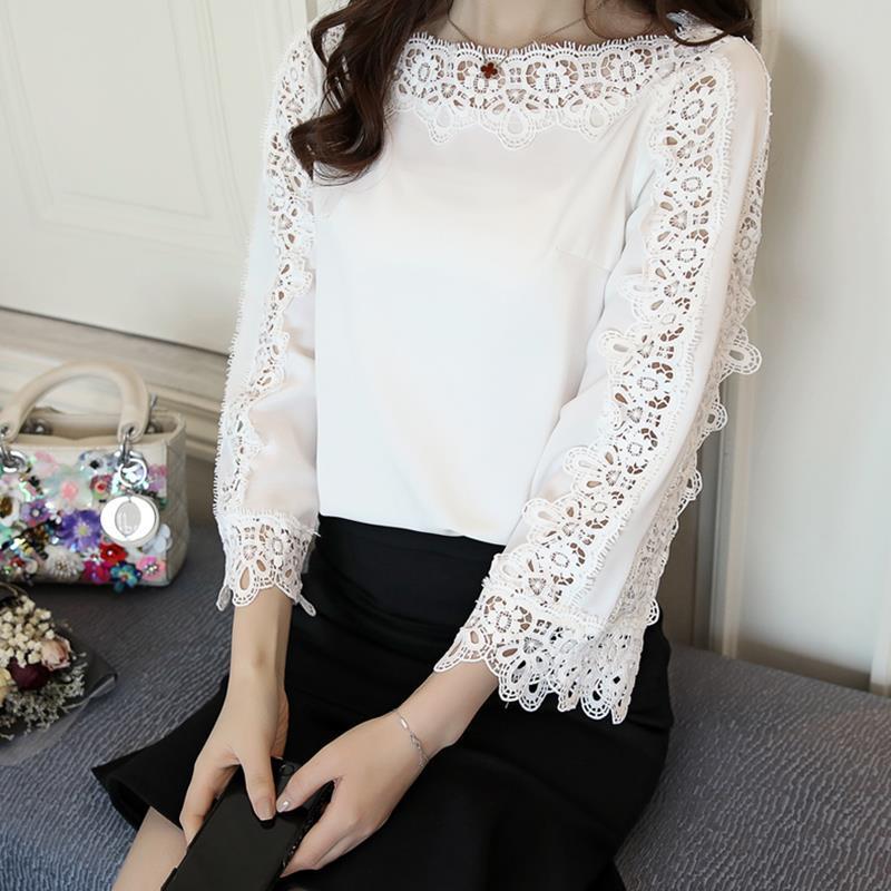 Blusa Floral de Encaje Mangas acampanadas Oficina Tops Blancos Primavera Verano Mujer Elegante Blusa de Gasa Camisa Tops WS6564A