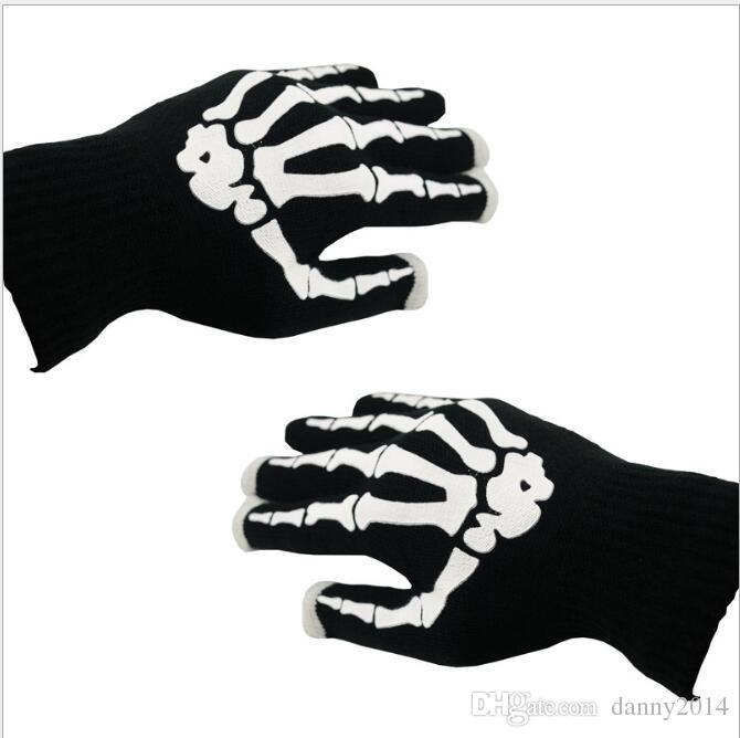 Esqueleto Luvas de Tela Sensível Ao Toque de Halloween Telefone Inteligente Tablet Luvas de Tela Sensível Ao Toque de Inverno Mittens Luvas de Dedo Completa Dedo Crânio