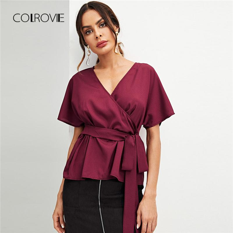 d79c13b2087ade 2019 COLROVIE Burgundy Solid Workwear Ruffle Wrap Peplum Blouse Shirt Women  2018 Autumn Vintage Blouse Elegant Women Tops And Blouses From Sadlyric, ...