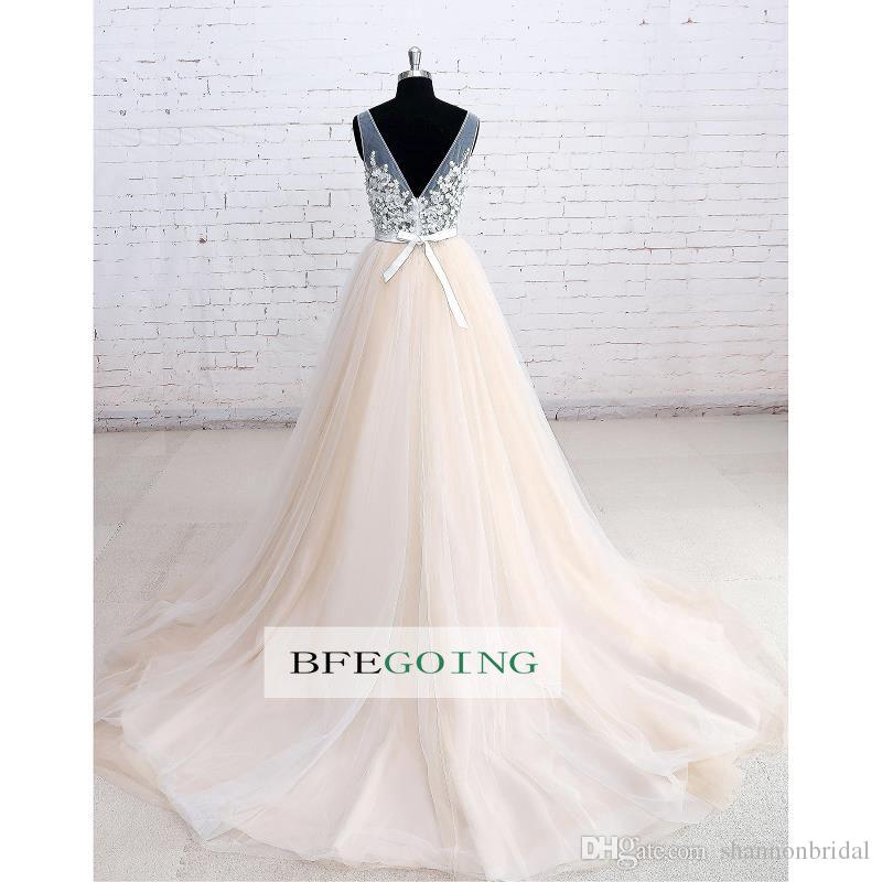 Sexy A-Line Real Photos V-Neck Sheer Straps Tulle Illusion Sashes With Bow Bridal Gowns Sexy Open Back Chapel Train Wedding Dress