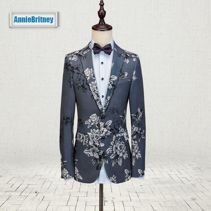 Compre 2017 Últimos Diseños De Pantalones De Abrigo Smoking Gris Floral Hombres  Traje De Moda Chaqueta De Patrón Blazer Slim Fit Trajes De Esmoquin ... f361a6998ff