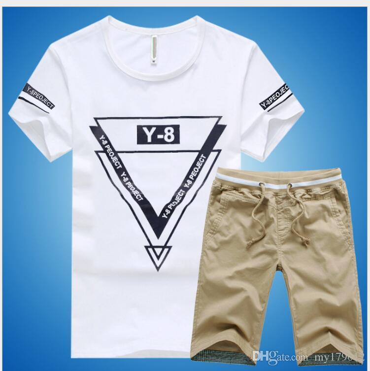 Hombres de la marca short sport suit Summer 2018 short-sleeve T-shirt + shorts casual sport suit. Ropa de estudiante suelta y transpirable
