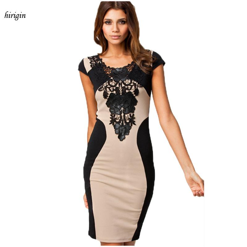 5ffac82645f9 Vestidos Summer Elegant Women Casual Solid Short Sleeve Slim Lace Mini Dress  Hollow Out Lace Black Mini Dress Wrap Dresses Plus Size Evening Dresses  From ...
