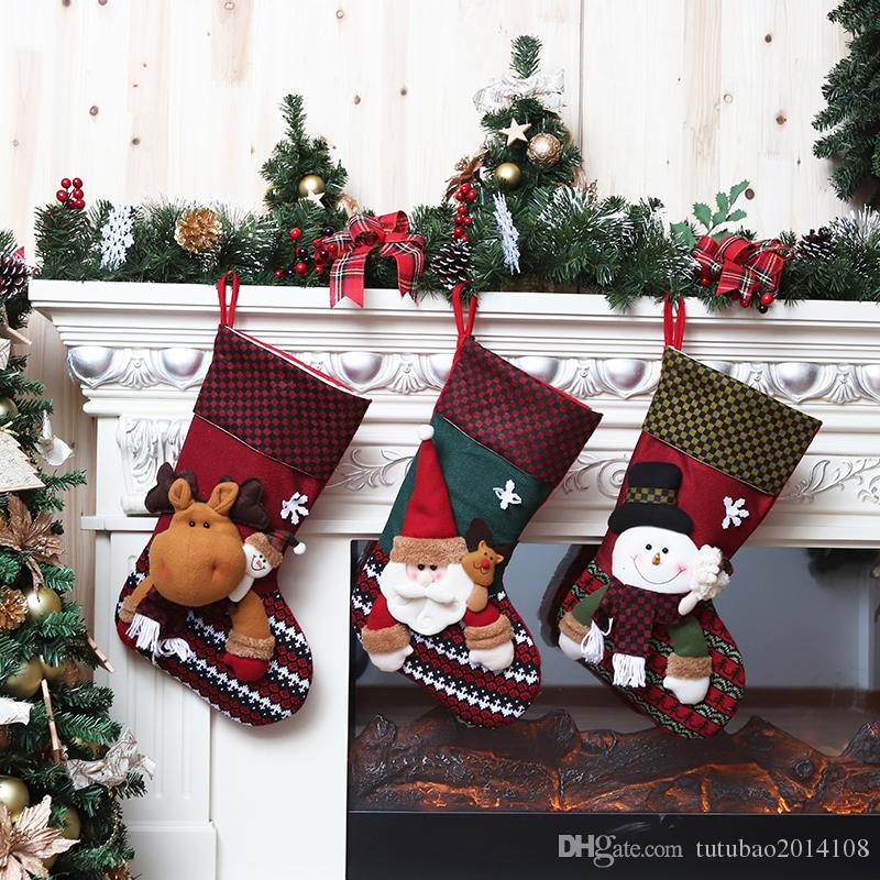 new year large christmas stocking socks christmas decoration for home candy gift bags xmas tree decor festival party ornament wooden christmas decorations - Large Christmas Stocking