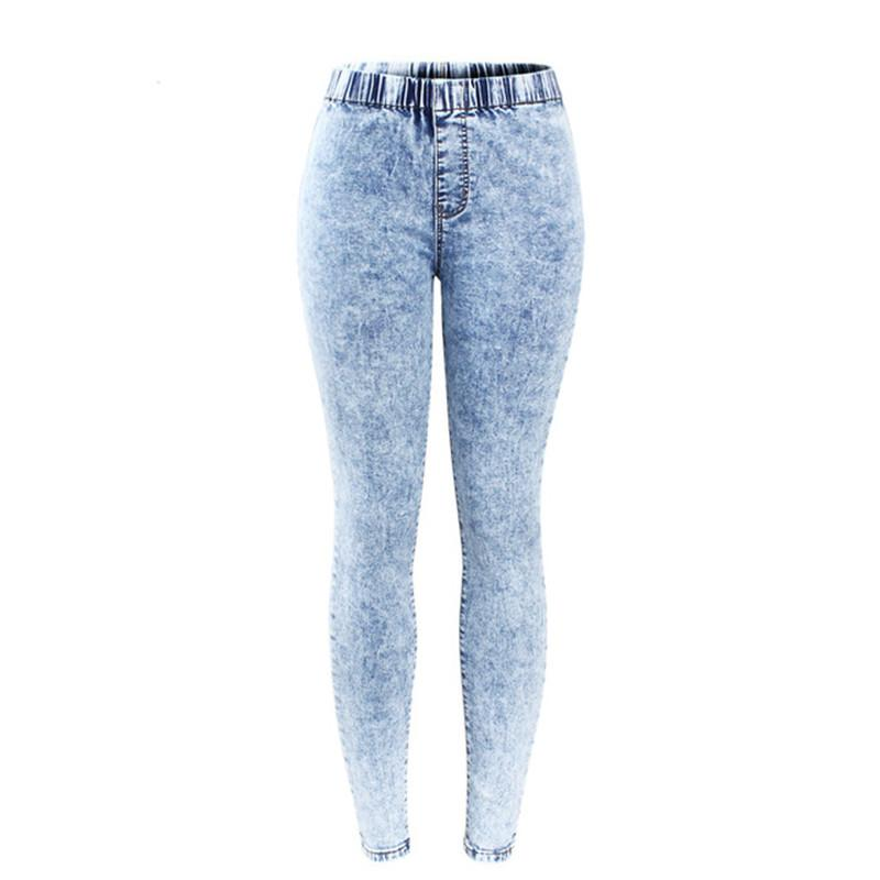 Fashion New Plus Size Ultra Stretchy Acid Washed Jeans Woman Denim Pants Trousers for Women Pencil Skinny Mid Waist Jeans