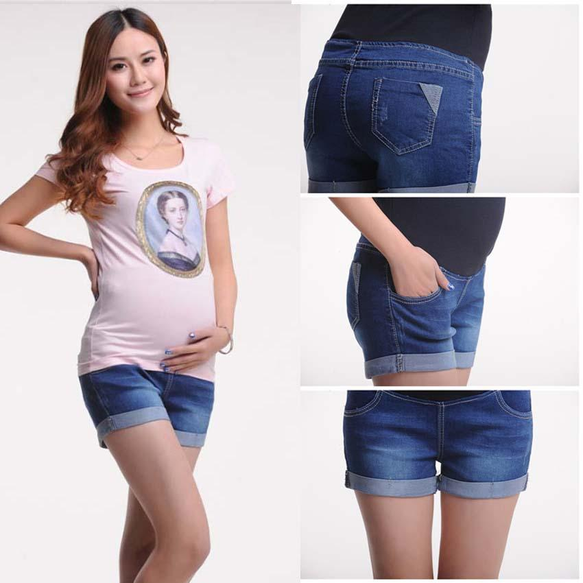 4ddc2034e16 2019 Short Jeans Pregnant Clothing Summer Denim Shorts Plus Size Maternity  Clothing Capris Pants Large Size Elastic Shorts From Jasmineer