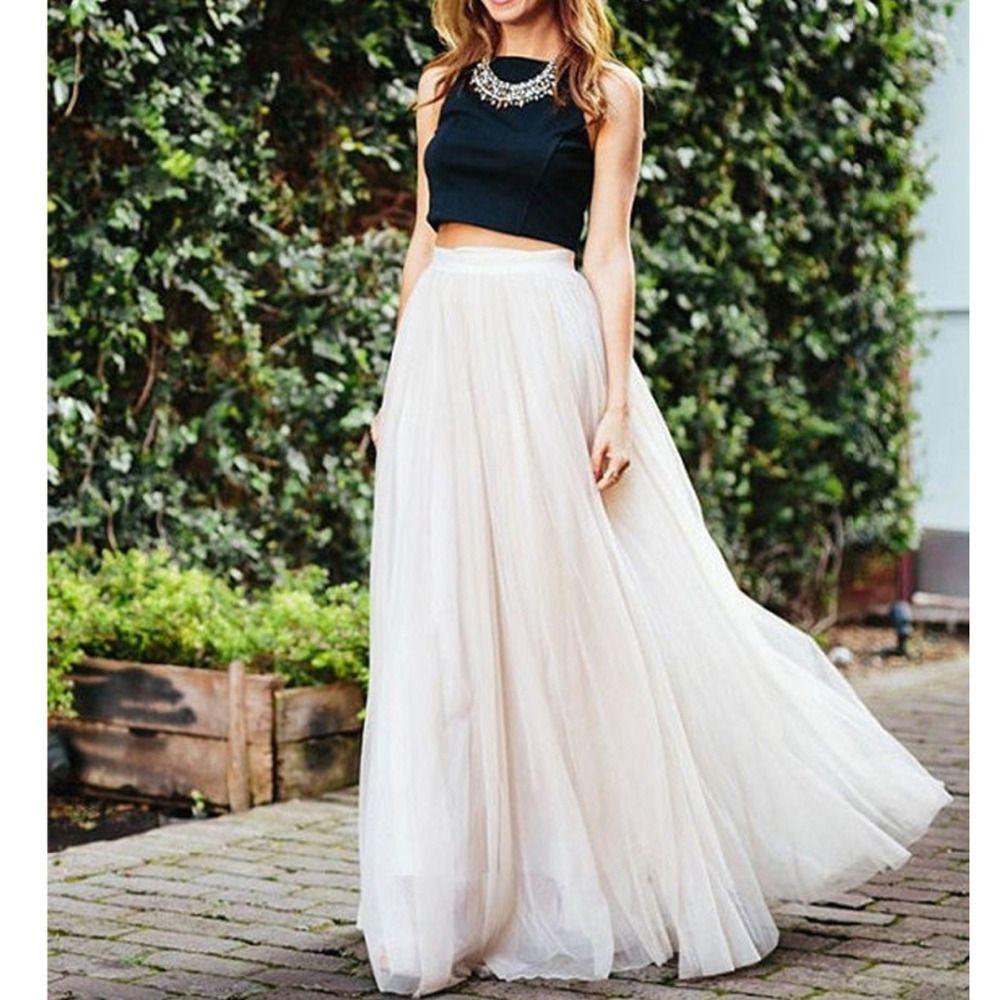 734bdeef6 2019 Maxi Long White Tulle Mesh Skirts For Women Elastic High Waist Lolita  Elegant Girls Juniors Prom Party Saias Jupe Clothes Faldas S916 From  Ruiqi02, ...
