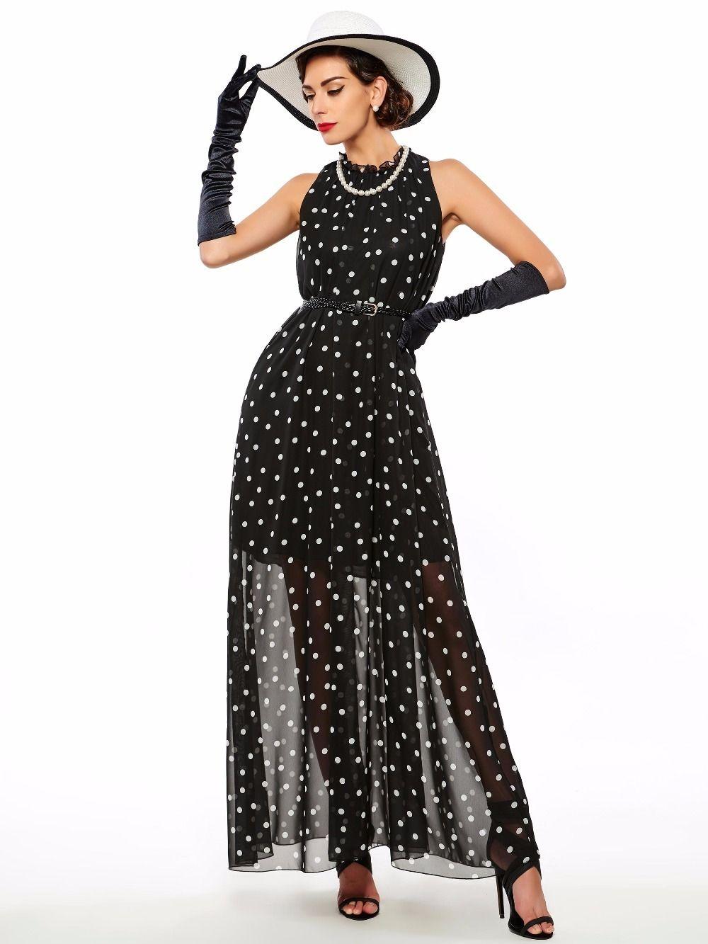 Grosshandel Gothic Maxi Kleid Frauen Sommer Schwarz Dot Oansatz