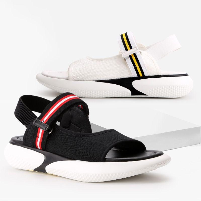 78f332695ca Peep Toe Sandals Harajuku Style Flat Summer Platform Casual Sandals ...