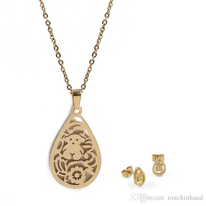 ccdb1f1cc21c New Design Jewelry Set Women Stainless Steel Tear Drop Hollow Pendant Charms  Party Gift Necklace Earrings Jewelry Set Good Quality Bears UK 2019 From ...