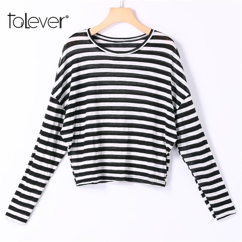 2018 Fashion Women Casual Striped Shirt O-Neck Long Falling Sleeves Tee Tops Female Basic Korean Style T-shirt Plus Size Talever