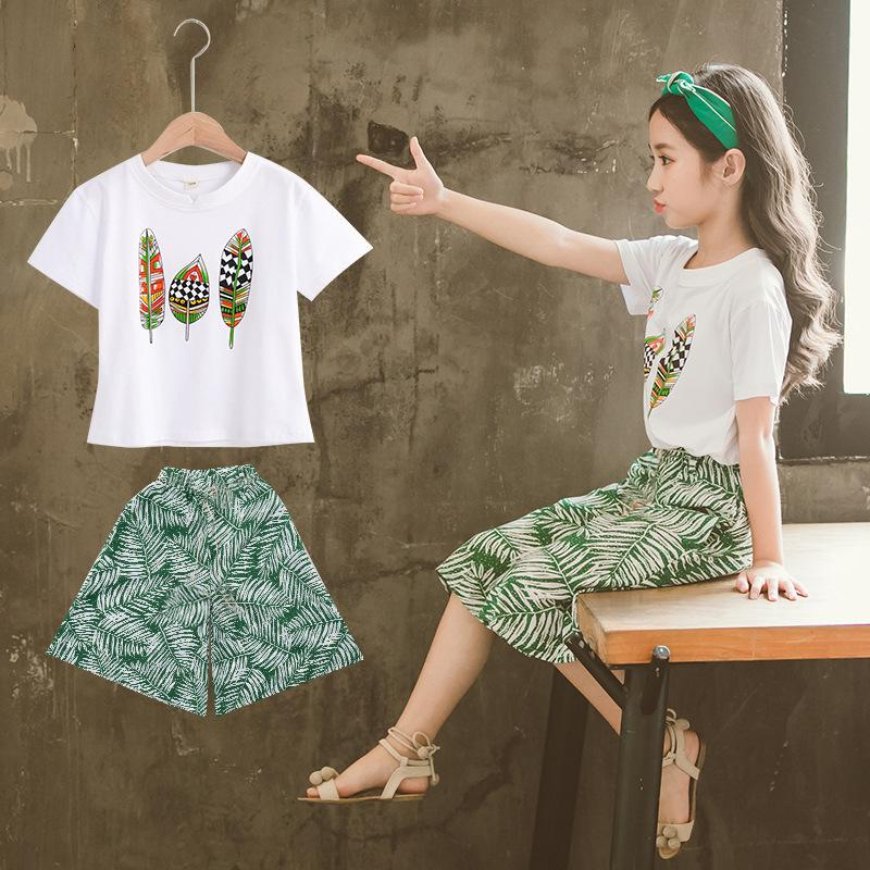 738b23b7d50 2019 New Pattern Girl Suit Xia Hanban Fashion Western Style Girl Wide Leg  Pants Baby Summer Short Sleeve T Pity Twinset From Wzk529