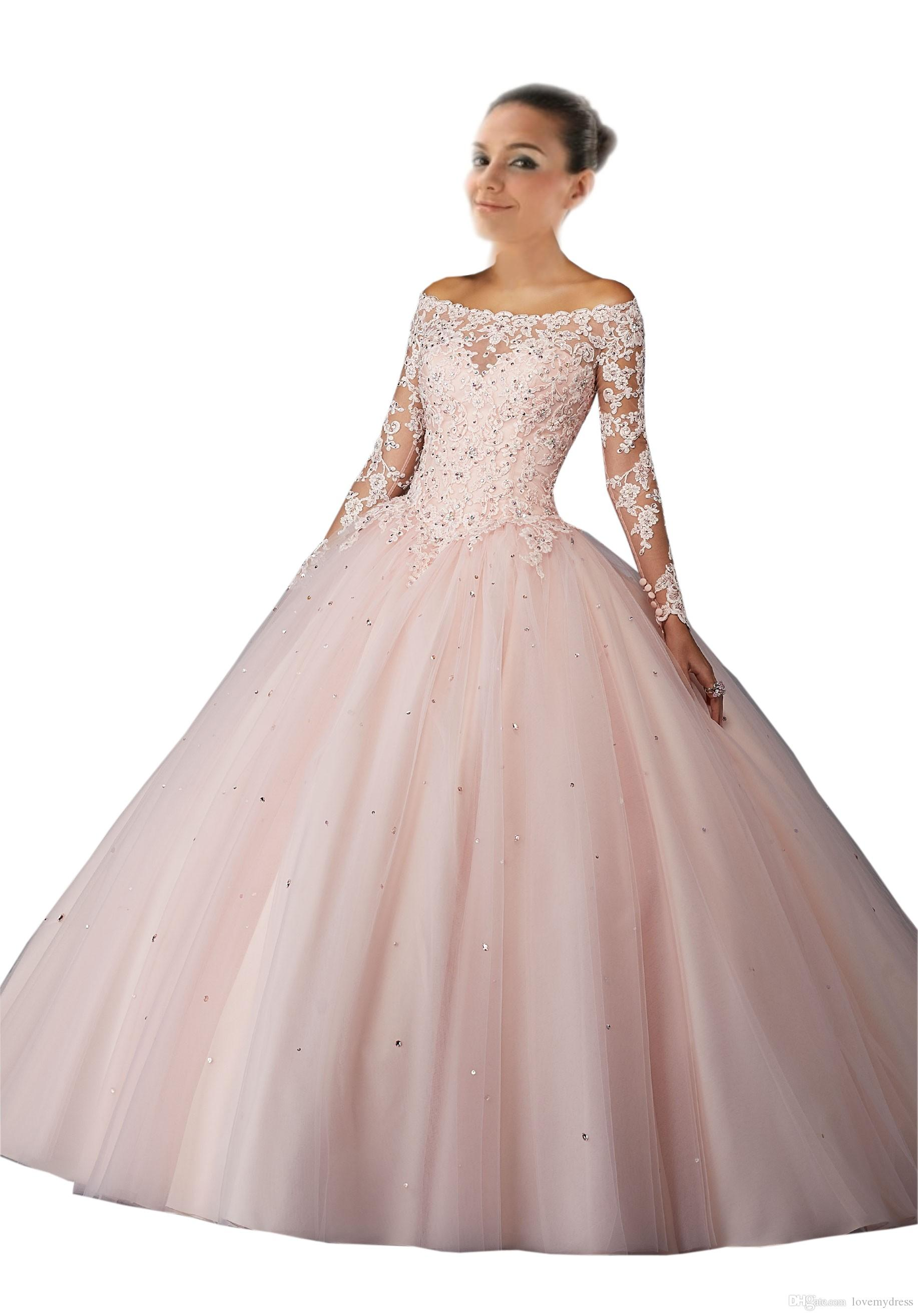 ca89167ac Vestidos 15 Anos Quinceanera Dresses 2018 Off The Shoulder With Long  Sleeves Lace Applique Ball Gowns Sweet 16 Dresses Light Pink Blush Ball  Gowns For Sale ...
