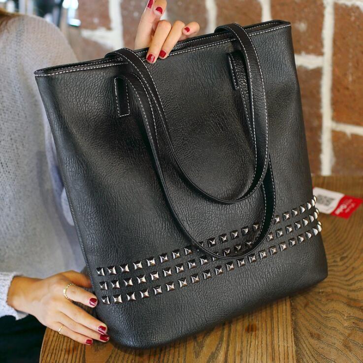 65e79a0db6ac 2018 New Quality Fashion Rivet Ladies Bag Portable Leisure Rivet Bucket Bag  Large Capacity Cross Body Shoulder Bags Wholesale Handbags Cheap Handbags  From ...