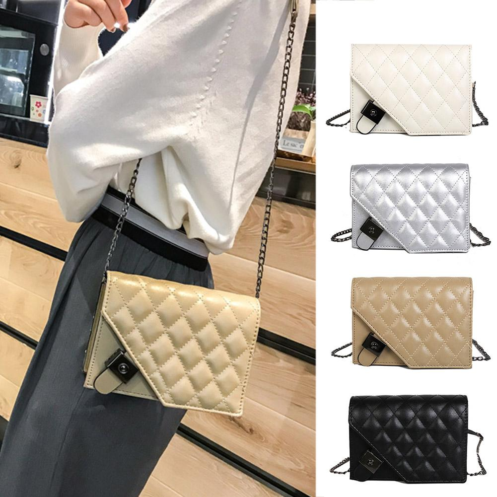 f55303c6a745 Women shoulder bags Handbags PU leather Lady Quilted Plaid Crossbody Bags  Chains Bag women leather handbags sac a main