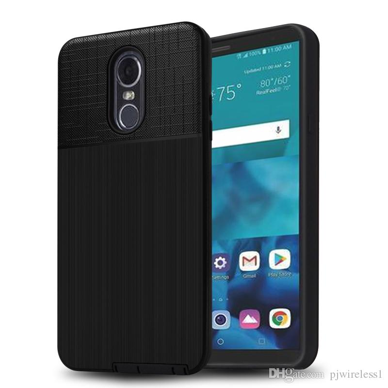 For LG Stylo 4 MetroPCS Hybrid Brushed Armor Case For LG Q Stylo Plus Dual  Layer Protector Cover A